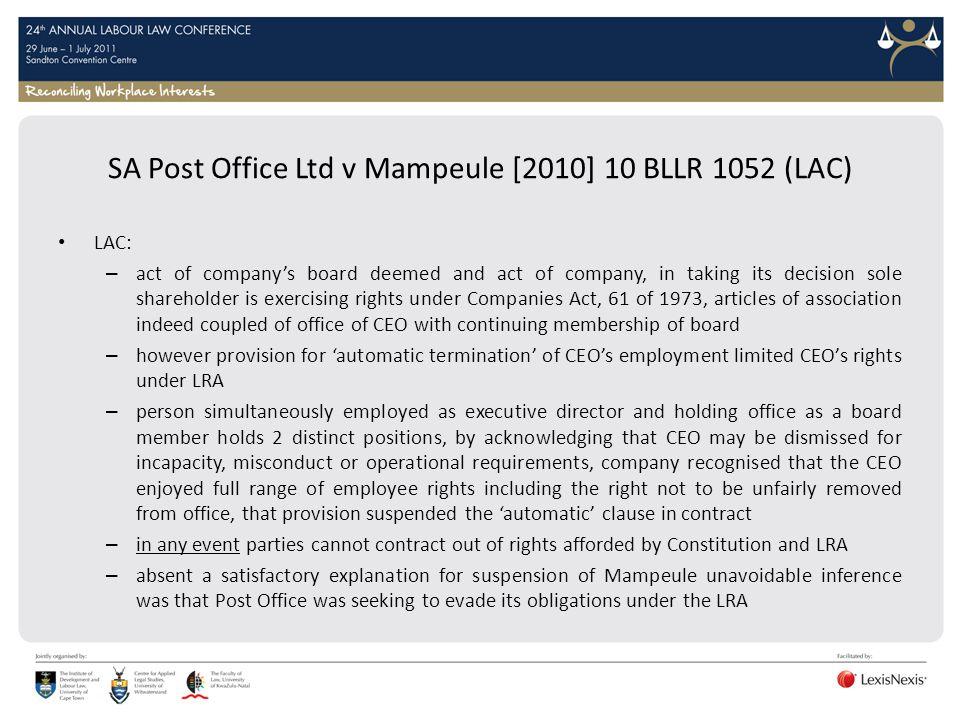 SA Post Office Ltd v Mampeule [2010] 10 BLLR 1052 (LAC)